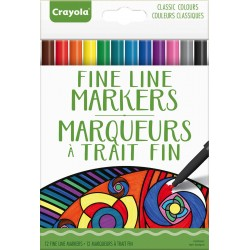 Crayola® 7103 - 12 Fine Line Markers Classic Colours
