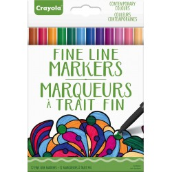 Crayola® 7104 - Ensemble de 12 Marqueurs à Trait Fin Couleurs Contemporaines