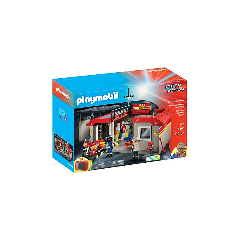 playmobil 5663 caserne des pompiers transportable. Black Bedroom Furniture Sets. Home Design Ideas