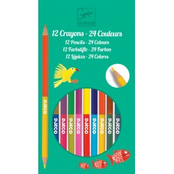 12 Double-Ended Pencils - 24 Colours - Djeco DJ09758