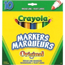 Crayola® 7708 - Ensemble de 10 Marqueurs à Trait Large Couleurs Original
