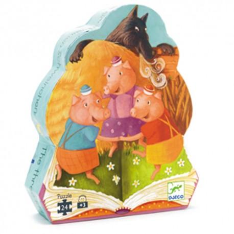 Djeco DJ07212 - Casse-tête silhouette 24 mcx - 3 petits cochons