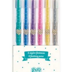Lovely Paper - Djeco - 6 crayons gel à paillettes