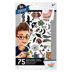 Buki Be Teens- Tattoos lavables 75 pièces - Garçons