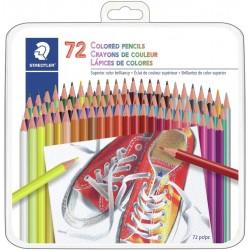 Ensemble de 72 crayons de couleur dans une boîte métal