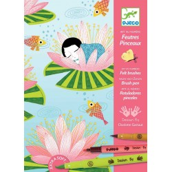 Djeco DJ08644 - Felt brushes - Art by numbers - Water lily